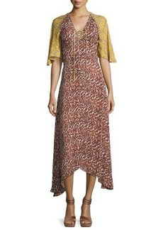 Derek Lam 10 Crosby Silk Animal-Print Midi Dress