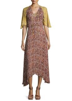 Derek Lam 10 Crosby Silk Animal-Print Midi Dress