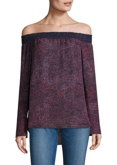 Derek Lam 10 Crosby Silk Off-The-Shoulder Printed Blouse