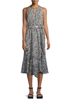 Derek Lam 10 Crosby Sleeveless Belted Printed A-Line Dress