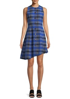 Derek Lam 10 Crosby Sleeveless Button-Down Asymmetrical Check Dress