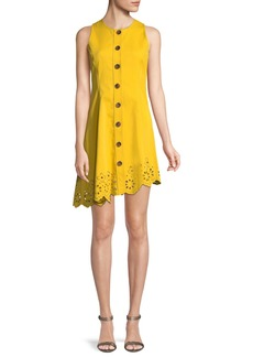 Derek Lam 10 Crosby Sleeveless Button-Down Cotton Dress with Scalloped Hem