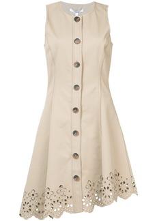 Derek Lam 10 Crosby Sleeveless Button Down Dress With Scalloped Hem -