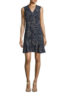 Derek Lam 10 Crosby Sleeveless Cascade Ruffle Silk Dress