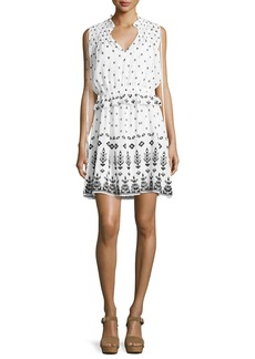Derek Lam 10 Crosby Sleeveless Embroidered 2-in-1 Poplin Dress
