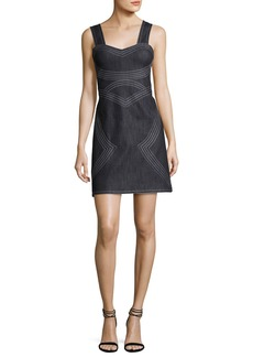 Derek Lam 10 Crosby Sleeveless Geometric Chambray Sheath Dress
