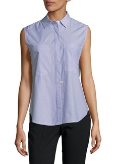 Derek Lam Sleeveless Hidden Placket Cotton Button-Down Shirt