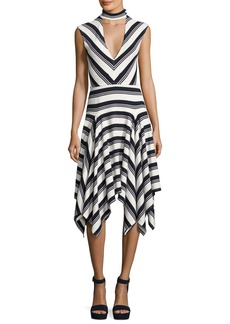 Derek Lam 10 Crosby Sleeveless Mitered Stripe Stretch Jersey Dress