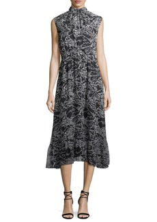 Derek Lam 10 Crosby Sleeveless Mock-Neck Printed Midi Dress