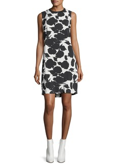Derek Lam 10 Crosby Sleeveless Printed Shift Dress w/ Bands