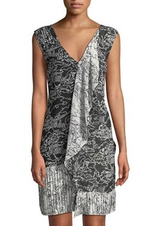 Derek Lam 10 Crosby Sleeveless Printed V-Neck Cascade Dress