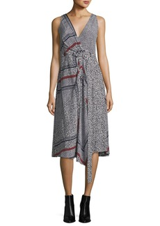 Derek Lam 10 Crosby Sleeveless Printed Wrap Dress w/ Pleating