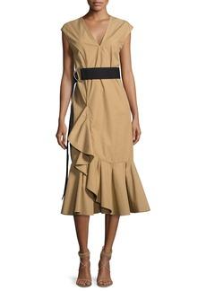 Derek Lam 10 Crosby Sleeveless Ruffle Hem Belted Dress