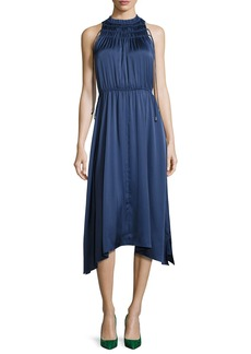Derek Lam 10 Crosby Sleeveless Shirred Satin Midi Dress
