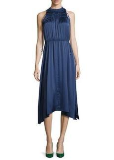Derek Lam 10 Crosby Sleeveless Shirred Satin Midi Dress