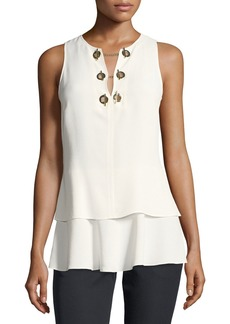Derek Lam 10 Crosby Sleeveless Silk Top with Grommet Detail