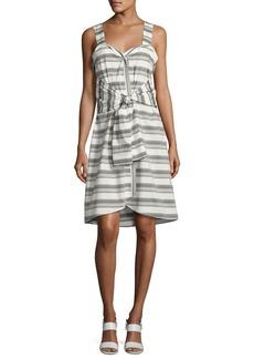 Derek Lam 10 Crosby Sleeveless Striped Tie-Front Poplin Dress