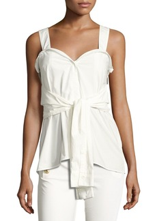 Derek Lam 10 Crosby Sleeveless Tie-Front Sweetheart Poplin Top