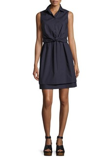Derek Lam 10 Crosby Sleeveless Tied Poplin Shirtdress