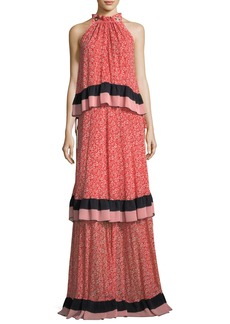 Derek Lam 10 Crosby Sleeveless Tiered Floral-Print Maxi Dress