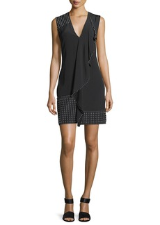 Derek Lam Sleeveless V-Neck Cascade Dress w/ Beading