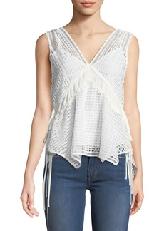 Derek Lam Sleeveless V-Neck Lace-Guipure Top w/ Ties