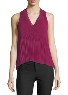 Derek Lam 10 Crosby Sleeveless V-Neck Pleated Top