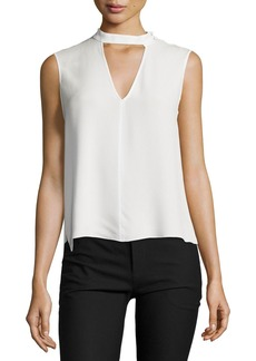 Derek Lam 10 Crosby Sleeveless Voile Mock-Neck Blouse