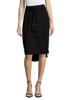 Derek Lam Solid Fringed Pencil Skirt