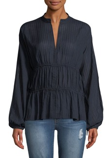 Derek Lam 10 Crosby Split-Neck Long-Sleeve Cotton Blouse w/ Tie Detail