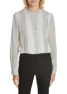 Derek Lam 10 Crosby Stripe & Dot Silk Blend Blouse
