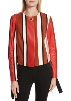 Derek Lam 10 Crosby Stripe Collarless Leather Jacket