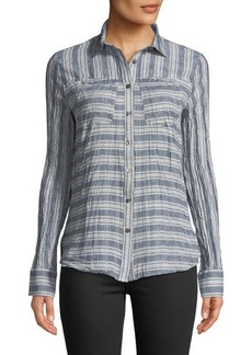 Derek Lam 10 Crosby Striped & Solid Button-Down Shirt