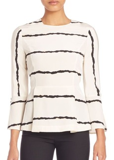 Derek Lam 10 Crosby Striped Bell Sleeve Silk Blouse