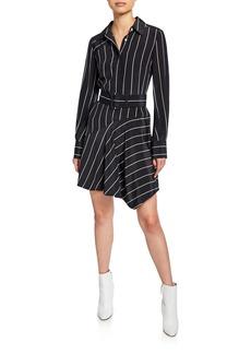 Derek Lam 10 Crosby Striped Belted Asymmetrical Shirt Dress