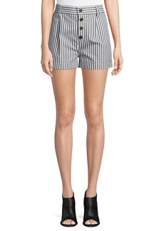 Derek Lam 10 Crosby Striped Button-Fly Shorts