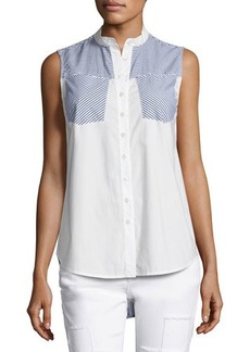Derek Lam 10 Crosby Striped-Combo Sleeveless Shirt