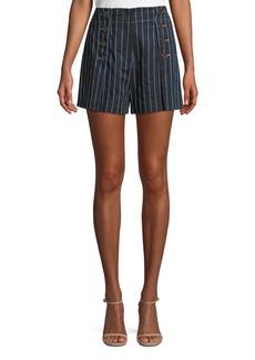 Derek Lam 10 Crosby Striped Cotton-Linen Short with Button Detail