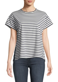 Derek Lam 10 Crosby Striped Crewneck Tee with Satin Side Placket