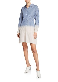 Derek Lam 10 Crosby Striped Dip-Dye Cotton Shirt Dress