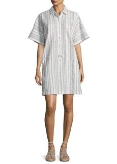 Derek Lam 10 Crosby Striped Half-Sleeve Shirtdress