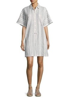 Derek Lam 10 Crosby Striped Half-Sleeve Shirtdress