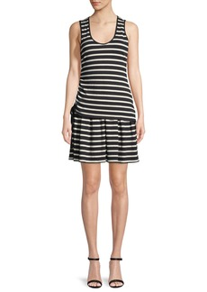 Derek Lam 10 Crosby Striped Jersey Scoop-Neck Mini Dress