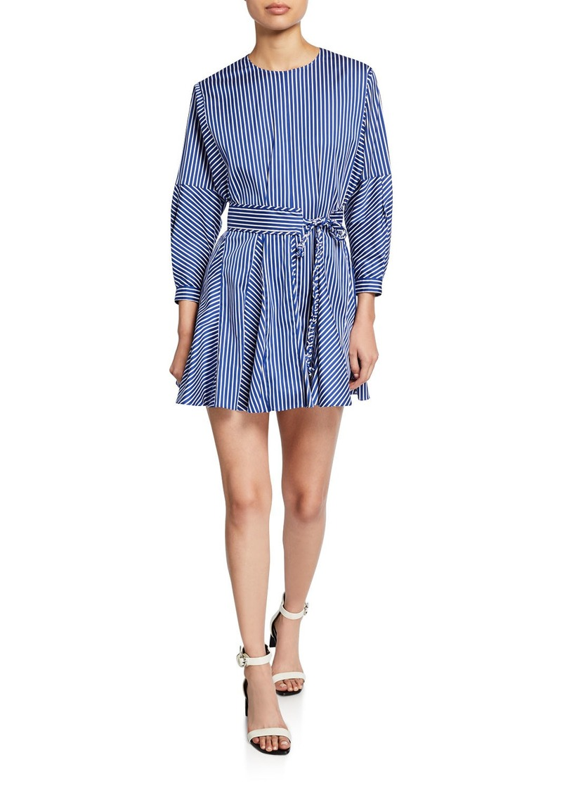 Derek Lam 10 Crosby Striped Long-Sleeve Godet Skirt Mini Dress