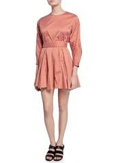 Derek Lam 10 Crosby Striped Long-Sleeve Godet Skirt Mini Dress