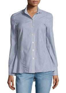 Derek Lam 10 Crosby Striped Long-Sleeve Peplum Shirt