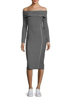 Derek Lam 10 Crosby Striped Off-the-Shoulder Midi Dress