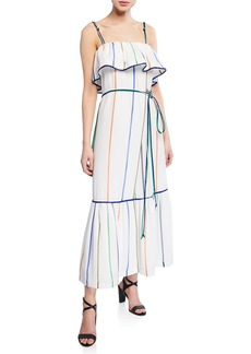 Derek Lam 10 Crosby Striped Ruffle Cami Maxi Dress