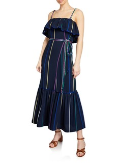 Derek Lam 10 Crosby Striped Ruffle Cami Maxi Dress