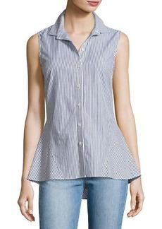 Derek Lam 10 Crosby Striped Sleeveless Peplum Shirt